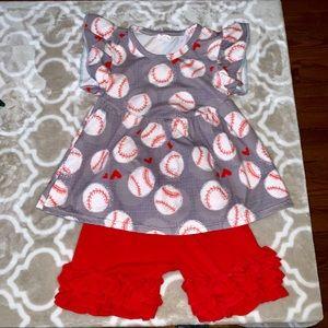 Little Girls 2T Baseball Outfit